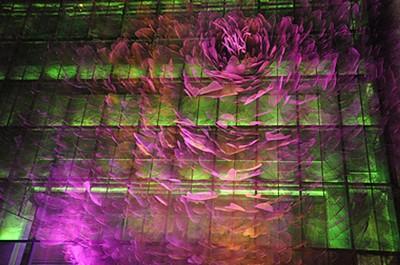 אחת החזיתות היותר יפות (גם קיטשיות) שראינו – פרח בגובה כ- 6 קומות בנוי מרשתות פלדה, עם תאורה צבעונית מתחלפת בלילה.