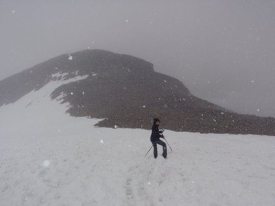 שלג במקטע האחרון לפני הפסגה