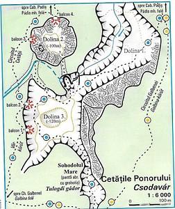 מפת הדולינה Cetatile Ponorului