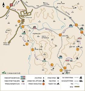 """מפה של המסלול מאתר """"טיולי"""""""