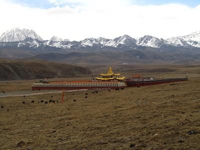 מכללת הנזירים שליד טאגונג והר יאלה מאחוריה
