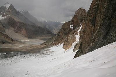 מבט מלמעלה על הקרחון
