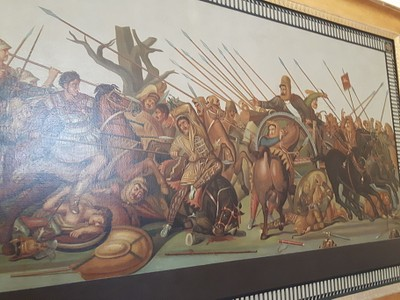 פסיפס מדהים מפומפי המתאר את קרב אלכסנדר מוקדון והמלך דרייווש.