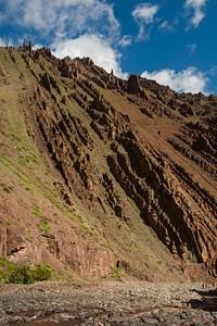 שכבות הסלע הנטויות לאורך המסלול