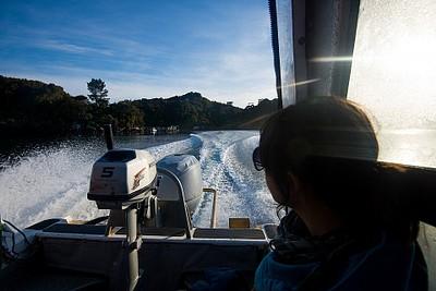 Water Taxi בדרך ל- Freshwater Hut