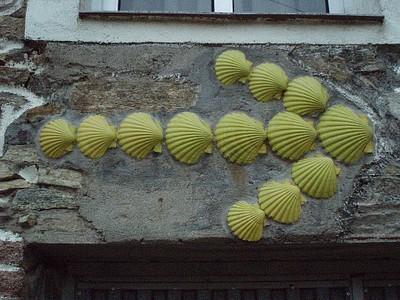 בחץ הצהוב עשוי צדפות- סמלים של ה- Camino de Santiago
