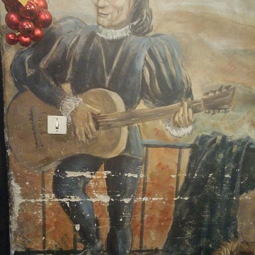 ציור קיר במסעדה הימי ביניימית l'Ecu d'Or