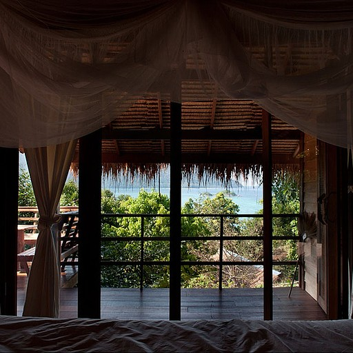 הנוף מהמיטה בבקתה