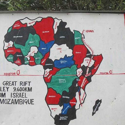 מפה של השבר הסורי אפריקאי בנקודת התצפית