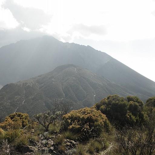 שפת המכתש עליה מטפסים בלילה - בחלקו הפנימי של המכתש נמצא חרוט אפר וולקני