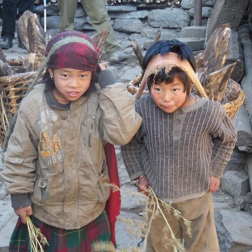 ילדים נפאליים חוזרים הביתה עם ירוק ביידיים