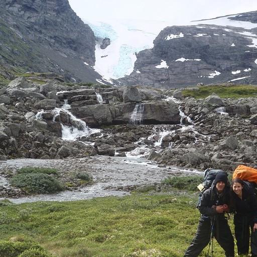 הקרחון לפני הטיפוס בסוף היום