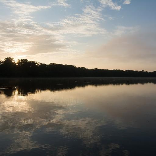 שקיעה באגם