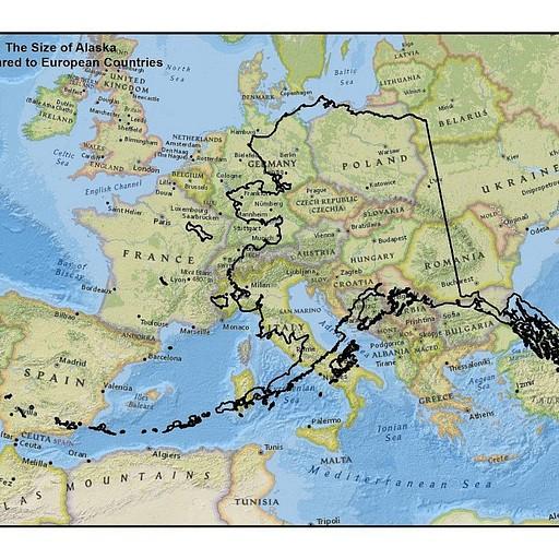 אלסקה על רקע אירופה