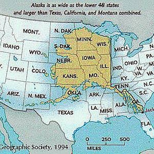 אלסקה על רקע שאר ארהב ('Lower 48')
