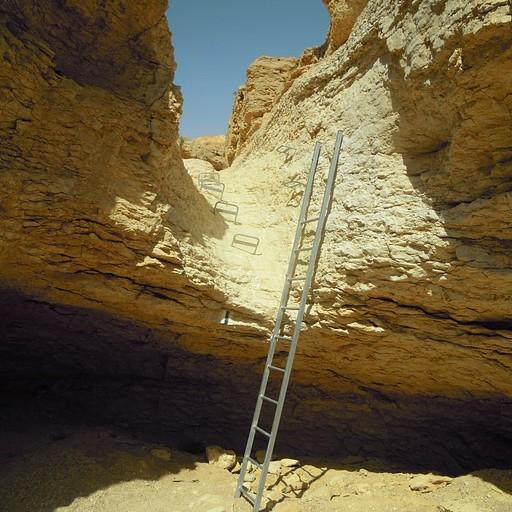 הסולם במפל האחרון במסלול השחור של נחל נטפים