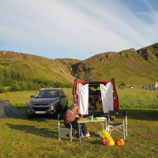 לינת קמפינג טיפוסית באיסלנד