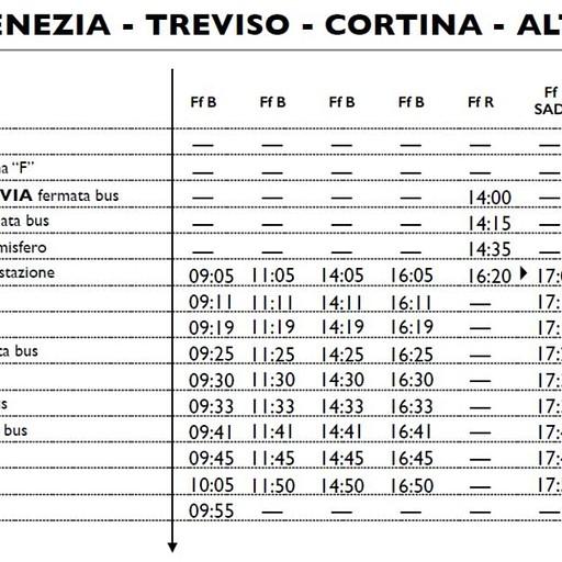קו 10 של cortina express לעיירה Dobbiaco-Toblach