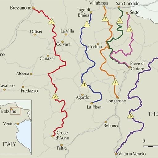 מסלולי AV, כשלמעשה יש 10. מתוך אתר חברת Cicerone עמוד Trekking in the Dolomites