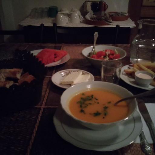 ארוחת ערב מעולה ב- Guesthouse Roshka