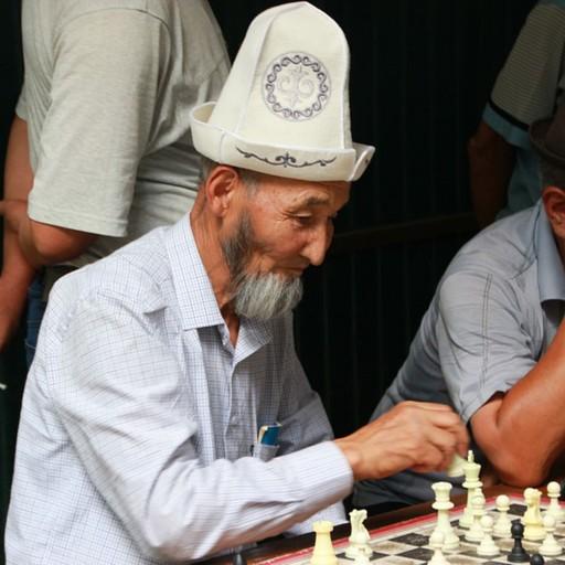 שחקן שחמט בפארק ציבורי