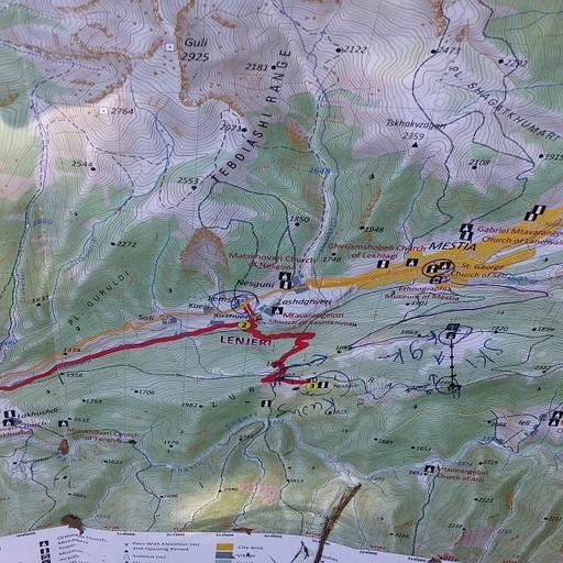 """מפה של אזור מסטיה שקיבלנו ב""""tourist information"""""""