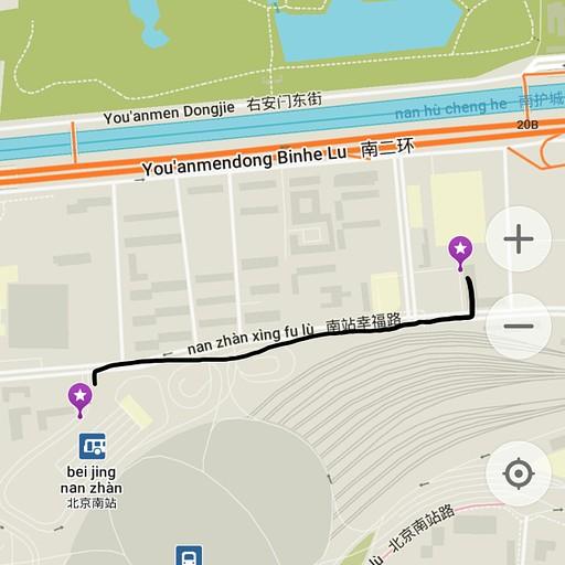 מפת ההליכה מתחנת הרכבת לתחנת האוטבוסים בבייג'ין