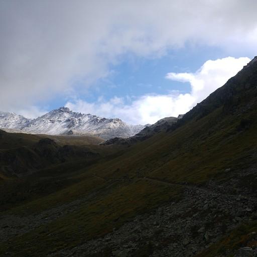 הפאס Forcletta באופק בין ההרים המושלגים - דרכו אפשר להגיע ביום אחד היישר אל Gruben.