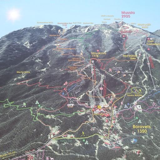 מפת אתר הסקי ושבילי ההליכה במוסלה