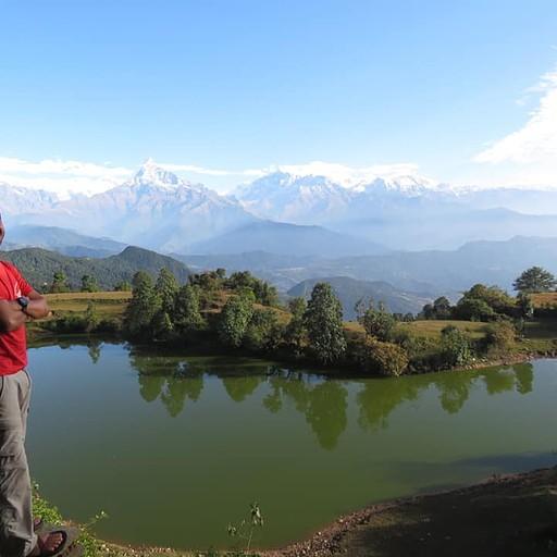 תחילת הטיפוס- אגם הבאפלו מלמעלה  (המסקנה מהיום שהנוף הכי יפה הוא בכלל כאן, מהכפר)