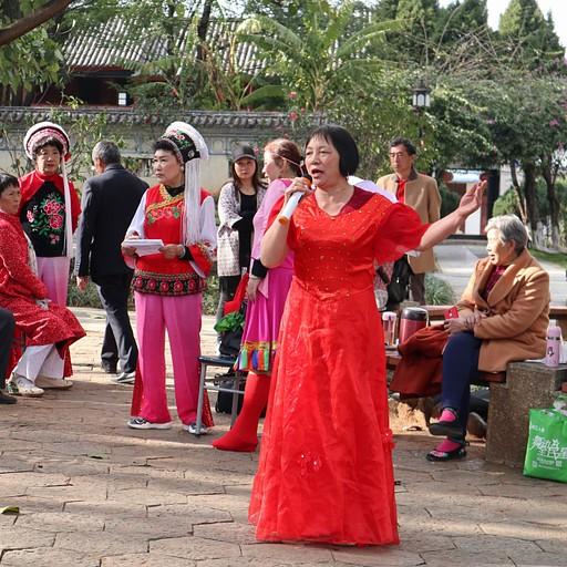קבוצה של סינים שרה בפארק בהופעה חיה, לבושים בתלבושות מסורתיות