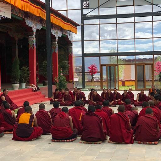 נזירים בשיעור במנזר דארג׳יי