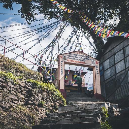 הכניסה לבהודאנדה מקושטת בדגלוני תפילה
