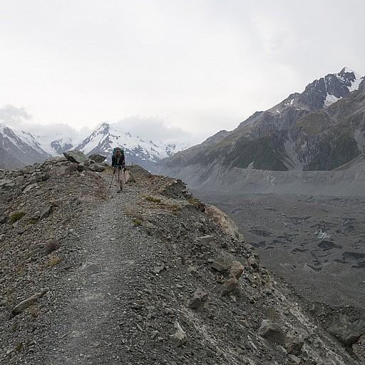 החזרה לאורך קרחון ה- Tasman
