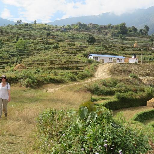 הליכה בין טרסות חיטה וכפרים קטנים