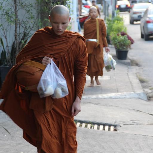 נזיר עם שקיות אוכל
