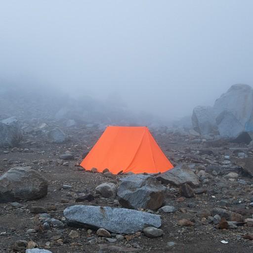האוהל שלנו במצנה כשהגענו בערפל