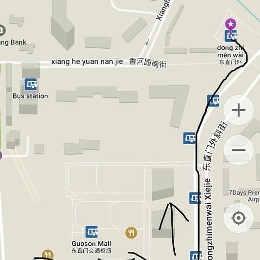מפת הגעה מיציאה B לתחנת האוטבוס