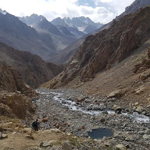 הבריכה הלוהטת על רקע הרי הפמיר.
