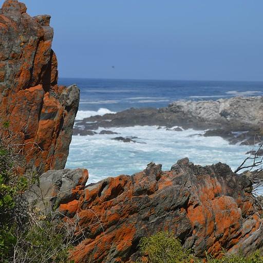 תצורות סלע מעיינןת על נוף האוקיינוס ההודי.