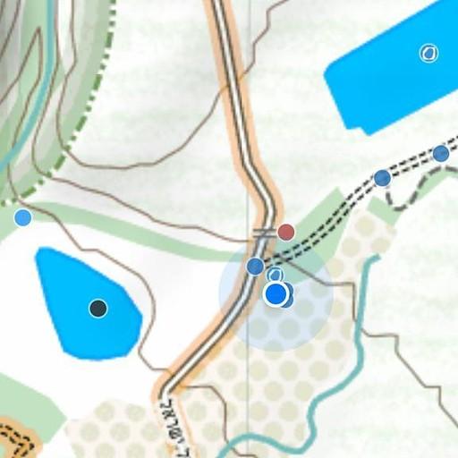 """צילום מסך של """"עמוד ענן"""", כל נקודה על המפה היא נקודת עניין (קליק להגדלה)"""