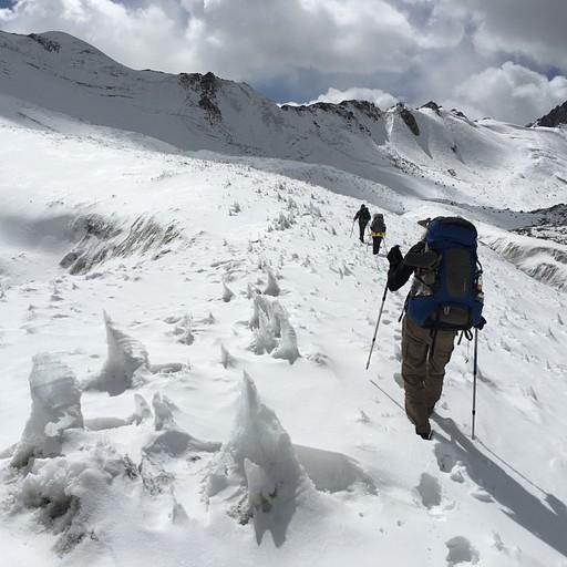 הליכה בין הזקיפים על הקרחון המושלג - יש ללכת על השלוחות.