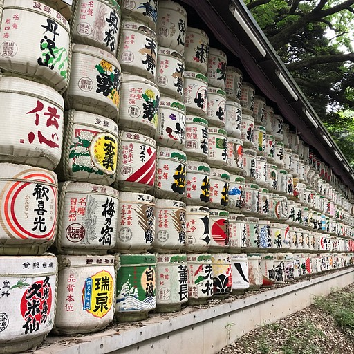 Sake barrel in Meiji jingu shrine